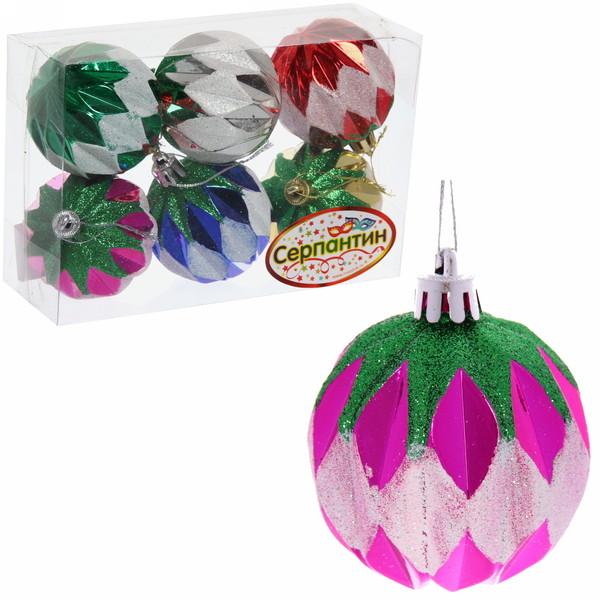 Новогодние шары (6шт) d-6см ″Фантазия″ Микс 6АС6-А33 купить оптом и в розницу