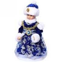Снегурочка музыкальная 30см со свечой в ажурном платье купить оптом и в розницу