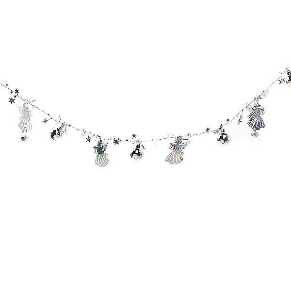 Бусы на ёлку серебро 1,5м ″Ангелочки, шарики и звездочки″ купить оптом и в розницу
