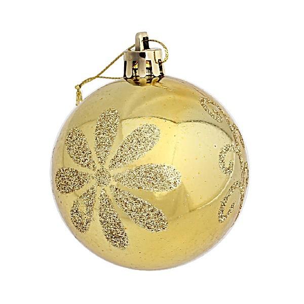 Новогодние шары ″Золотой цветик-семицветик″ 6см (набор 6шт.) купить оптом и в розницу