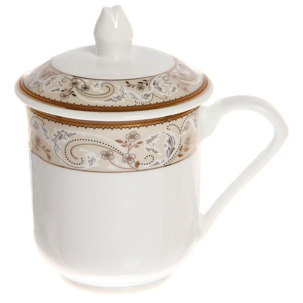Кружка керамическая с крышкой 300мл ″Королевское чаепитие″ 35430-1 купить оптом и в розницу