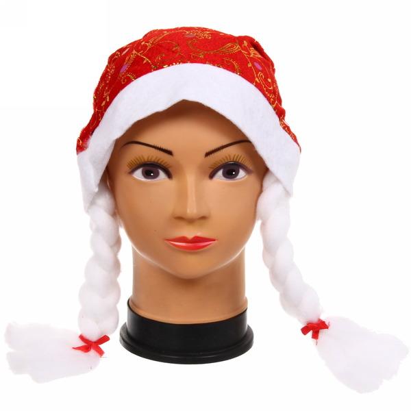 Колпак новогодний красный ″Узоры″ с пайетками, 28*38см купить оптом и в розницу