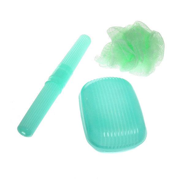Банный-дорожный набор в косметичке 3 предмета (футляр для зуб/щетки, мыльница и мочалка) 421-3 купить оптом и в розницу