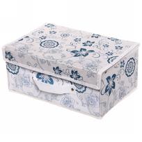 Коробка д/хранения вещей 30*20*15 Синии цветы купить оптом и в розницу