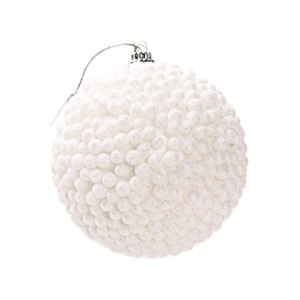 Новогодние шары ″Снежок″ 8см (набор 2шт.) купить оптом и в розницу