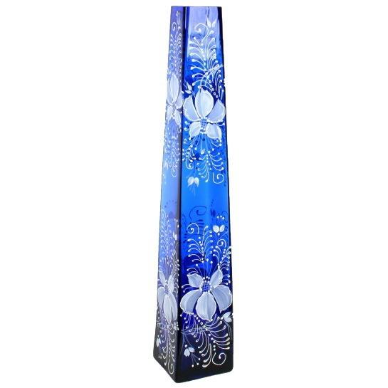 Ваза стеклянная 40см, синяя, ручная роспись ″Пирамида″ купить оптом и в розницу