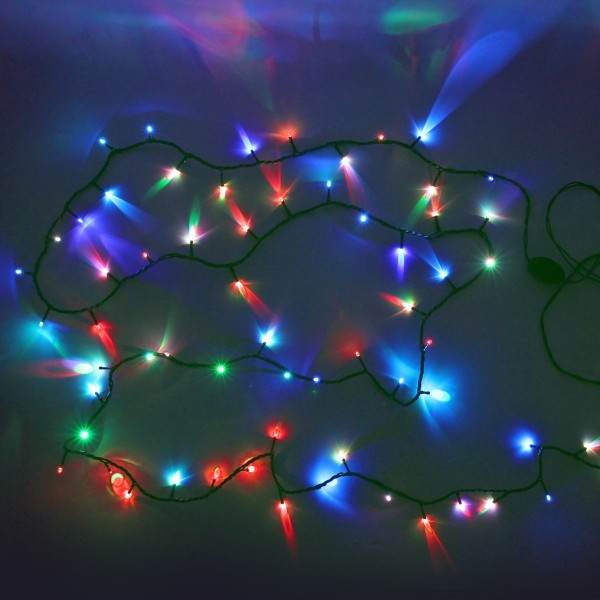 Гирлянда светодиодная уличная 11,5 м, 100 ламп LED RGB(красный,зеленый,синий), авторежимы, зелен.пров. купить оптом и в розницу