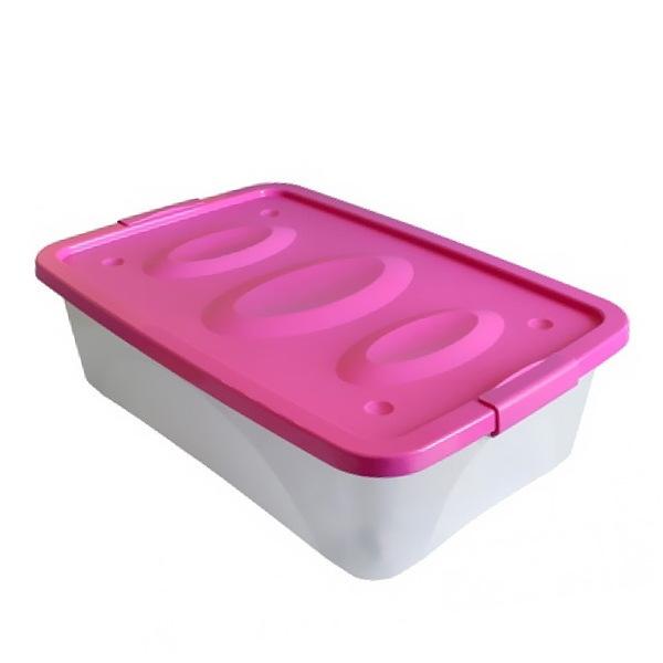 Ящик универсальный ″Астело″ 600х400х180мм на колесиках темно-розовый купить оптом и в розницу