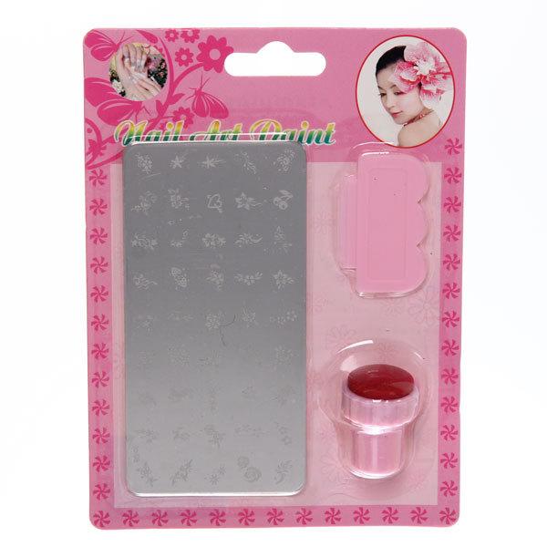 Набор-стемпинг для создания узора на ногтях (штамп, скребок малый и диск) 17*12 купить оптом и в розницу