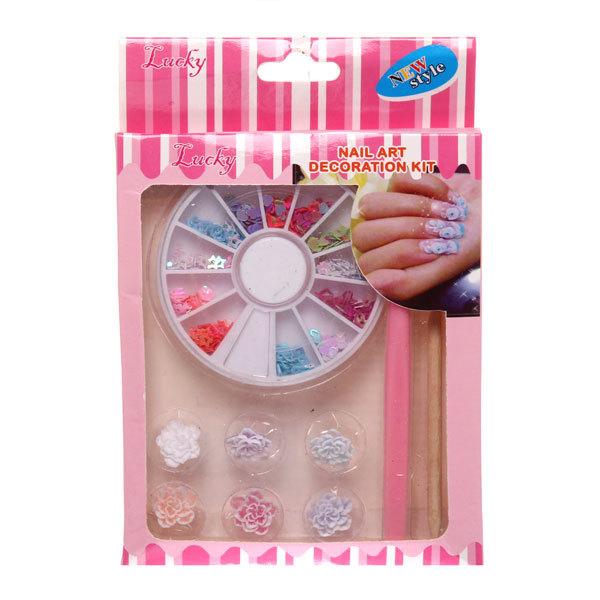 Набор для создания узора на ногтях ″Эстетика″, блестки фигурные и цветы 9*14 купить оптом и в розницу