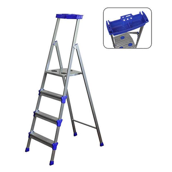 Стремянка металлическая 4 ступени, высота до платформы 840 мм, вес 5,5 кг, до 150 кг СМ4 НИКА купить оптом и в розницу