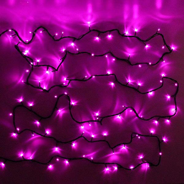 Гирлянда светодиодная уличная 20 м, 300 ламп LED, Розовый, 8 реж, черн.пров. купить оптом и в розницу
