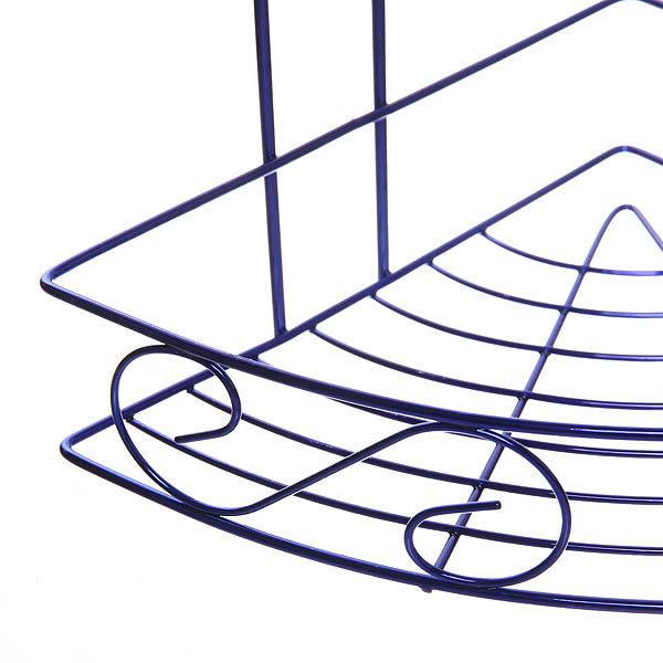Полка для ванны металлическая угловая двойная 21х21х33см. Y-1085 синяя купить оптом и в розницу