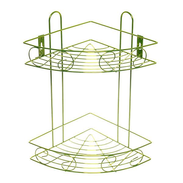 Полка для ванны металлическая угловая двойная 21х21х33см. Y-1085 зеленая купить оптом и в розницу