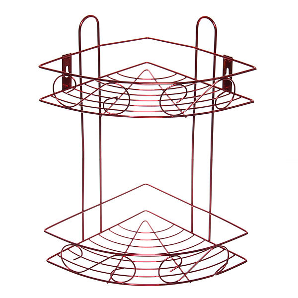 Полка для ванны металлическая угловая двойная 21х21х33см. Y-1085 красная купить оптом и в розницу