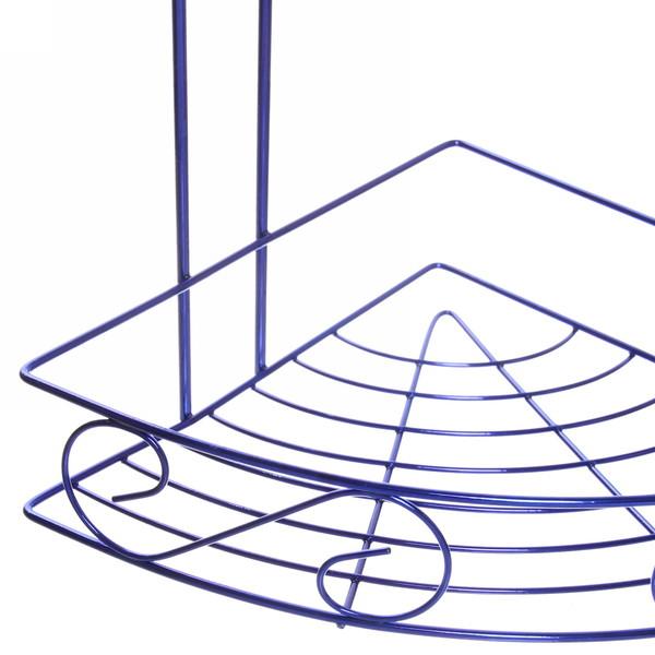 Полка для ванны металлическая угловая тройная 21х21х58см. Y-1084 синяя купить оптом и в розницу