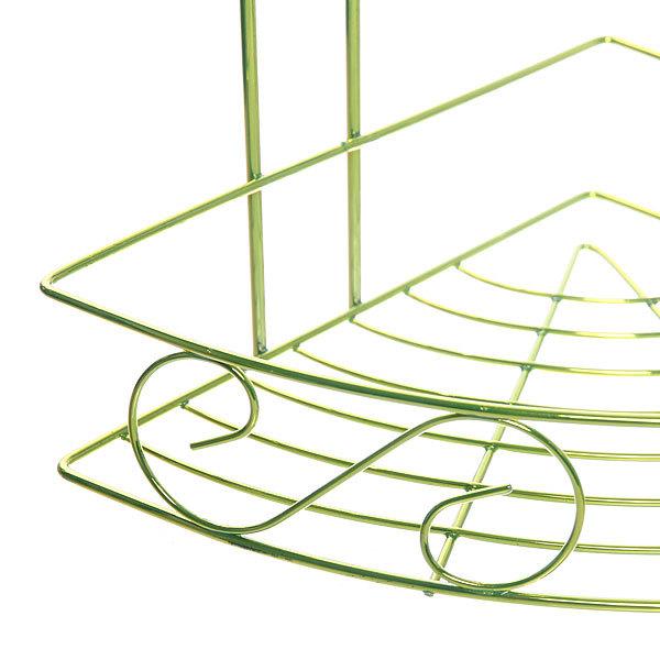 Полка для ванны металлическая угловая тройная 21х21х58см. Y-1084 зеленая купить оптом и в розницу
