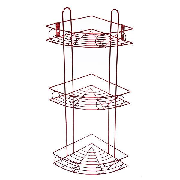 Полка для ванны металлическая угловая тройная 21х21х58см. Y-1084 красная купить оптом и в розницу