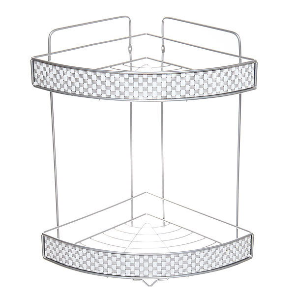 Полка для ванны металлическая угловая двойная 24х24х37см. KB-201W купить оптом и в розницу