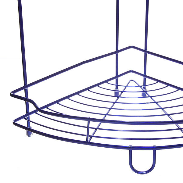 Полка для ванны металлическая угловая двойная 25х25х39см. Y-1099 синяя купить оптом и в розницу