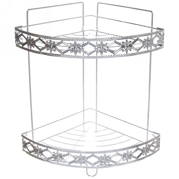 Полка для ванны металлическая угловая двойная 22х22х34см. E19-2 купить оптом и в розницу