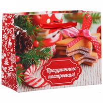 Пакет 11х14 см усиленный с блестками ″Праздничного настроения!″, Вкус праздника, горизонтальный купить оптом и в розницу