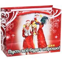 Пакет подарочный 11х14 см горизонтальный ″Пусть все будет хорошо!″, Дед Мороз и внучка купить оптом и в розницу