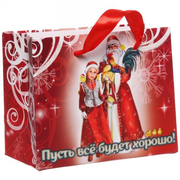 Пакет 11х14 см усиленный с блестками ″Пусть все будет хорошо!″, Дед Мороз и внучка, горизонтальный купить оптом и в розницу
