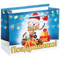 Пакет подарочный 11х14 см горизонтальный ″Поздравляю!″, Снеговичок купить оптом и в розницу