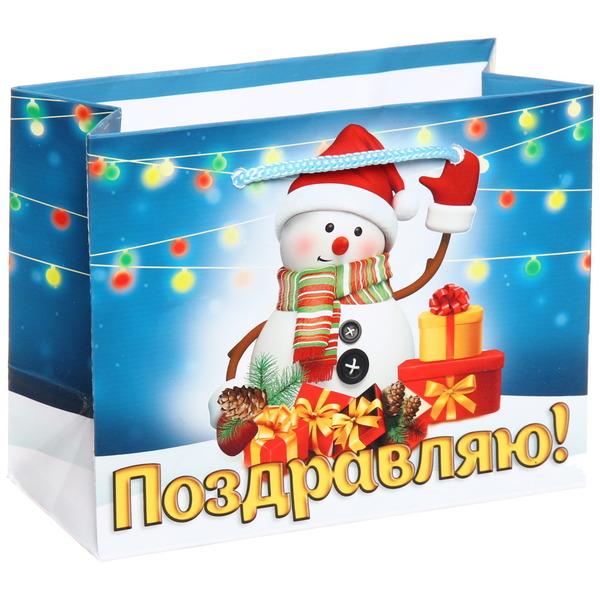 Пакет 11х14 см глянцевый ″Поздравляю!″, Снеговичок, горизонтальный купить оптом и в розницу