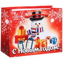 Пакет подарочный 11х14 см горизонтальный ″С Новым годом!″, Снеговичок купить оптом и в розницу