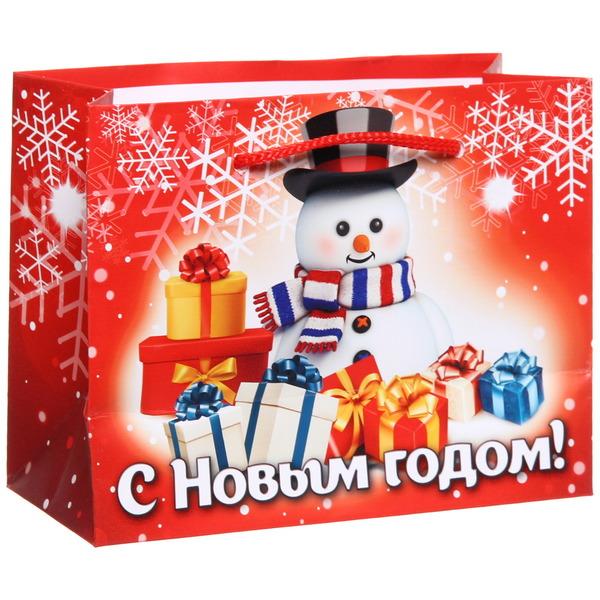 Пакет 11х14 см глянцевый ″С Новым годом!″, Снеговичок, горизонтальный купить оптом и в розницу