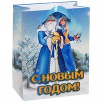 Пакет 11х14 см усиленный с блестками ″С Новым годом!″, Дед Мороз и Снегурочка, вертикальный купить оптом и в розницу