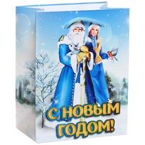 Пакет подарочный 11х14 см вертикальный ″С Новым годом!″, Дед Мороз и Снегурочка купить оптом и в розницу