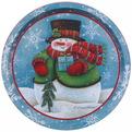 Поднос жестяной 32см ″Снеговик в шарфе с подарком″ купить оптом и в розницу