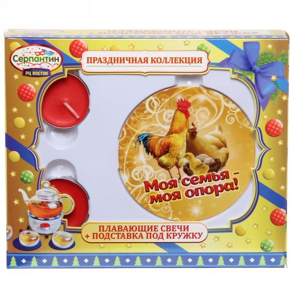 Набор подставка под кружку и свечки ″Моя семья - моя опора!″, Куриное семейство, 9 см купить оптом и в розницу