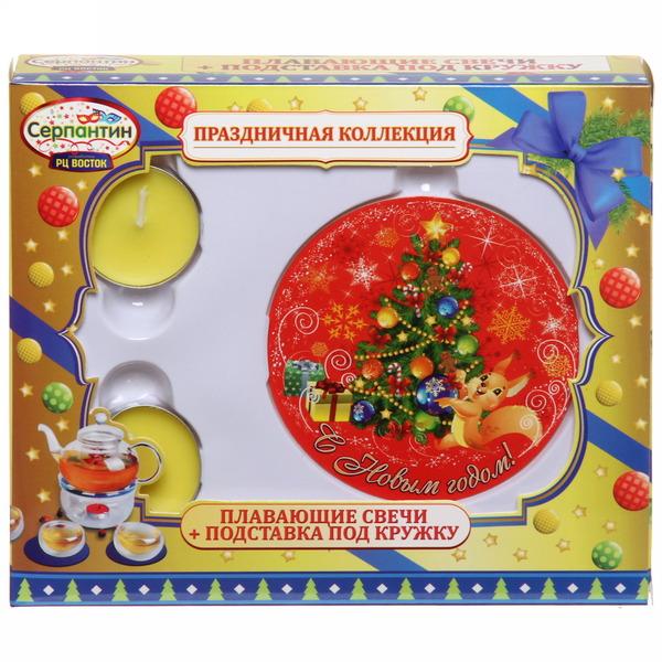 Набор подставка под кружку и свечки ″С Новым годом″, Белочка, 9 см купить оптом и в розницу