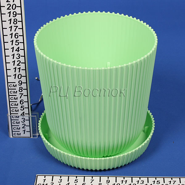 Горшок для цветов с поддоном ″Le Gaufre″ 2,4л. d15,5 803-1 зеленый (Р) купить оптом и в розницу