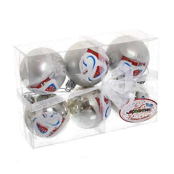Новогодние шары ″Новогодний Домик. Серебро″ 6см (набор 6шт.) купить оптом и в розницу