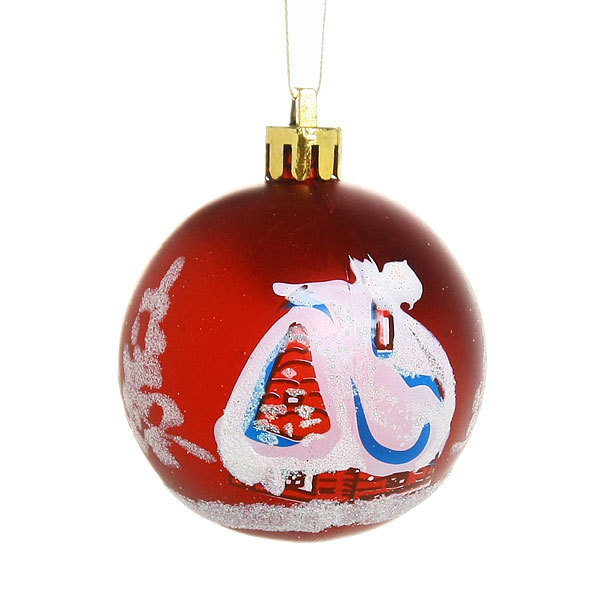 Новогодние шары ″Новогодний Домик. Рубин″ 6см (набор 6шт.) купить оптом и в розницу