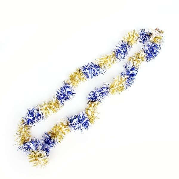 Мишура новогодняя 2 метра 9см ″Зебра″ синий, золото купить оптом и в розницу