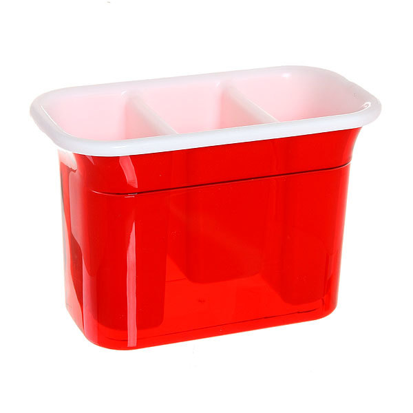 Подставка для столовых приборов 20*11*13,5см пластиковая, 3 секции купить оптом и в розницу
