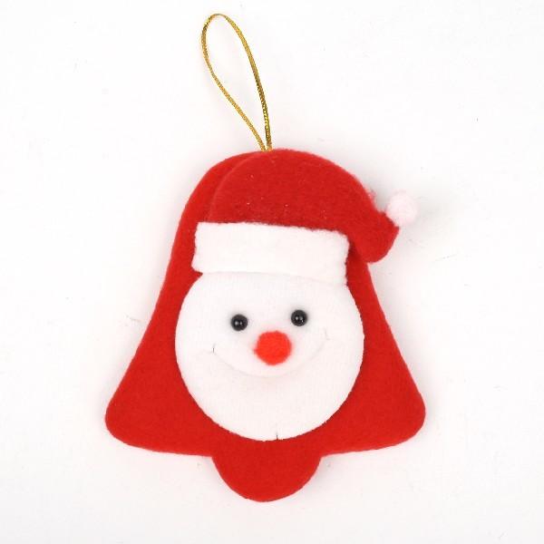 Ёлочная игрушка мягкая 14см ″Дед мороз, снеговик на колокольчике″ микс купить оптом и в розницу