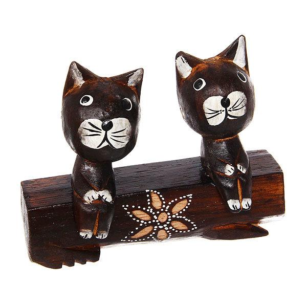 Фигурки из дерева ″Кошки на бревне″, 15см, албезия купить оптом и в розницу