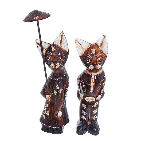 Фигурки из дерева ″Кошки с зонтом″, 20 см купить оптом и в розницу
