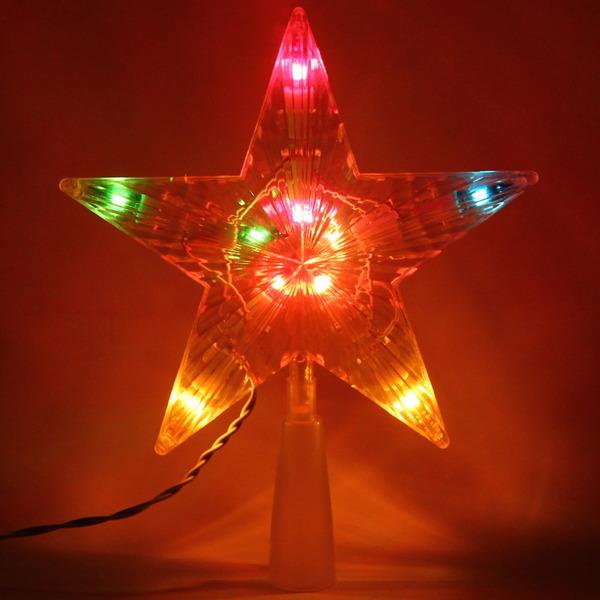 Звезда для елки светодиодная, 10 ламп, 16см, мультицвет, пров. 2 м купить оптом и в розницу