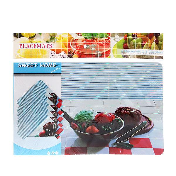 Набор салфеток на стол 42*27см 6+6шт Овощи тарелка купить оптом и в розницу