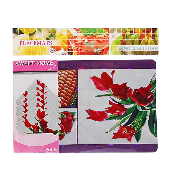 Набор салфеток на стол 42*27см 6+6шт Цветы СD-007 купить оптом и в розницу