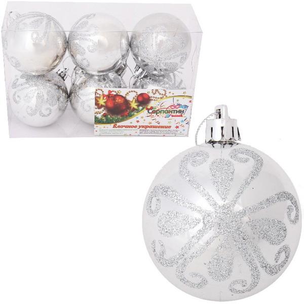 Новогодние шары ″Новогодний узор на снегу″ 6см (набор 6шт.) купить оптом и в розницу