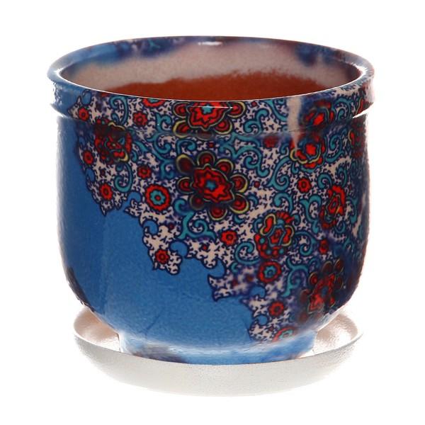 Горшок для цветов керамический 1,0 181-63н, Синий платок купить оптом и в розницу